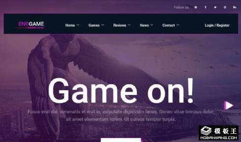 紫色游戏动态推荐响应式网页模板