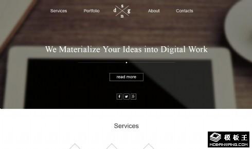 商务服务团队展示响应式网页模板